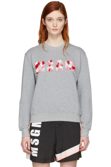 MSGM - Grey Embroidered Logo Pullover