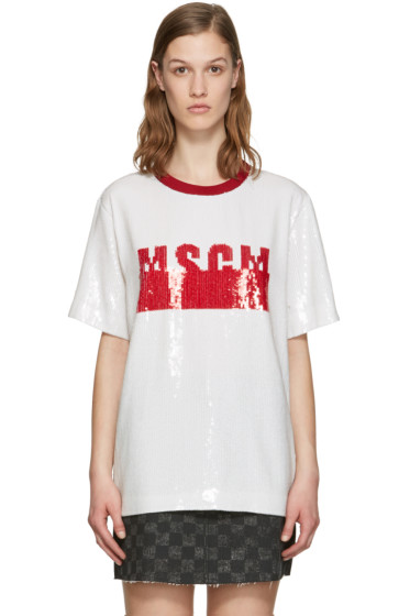 MSGM - White Sequinned T-Shirt Blouse