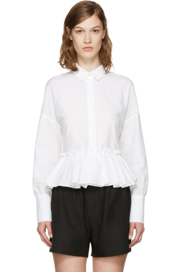 MSGM - White Horizontal Ruffle Shirt