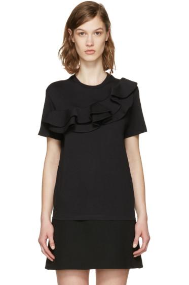 MSGM - Black Asymmetric Ruffle T-Shirt