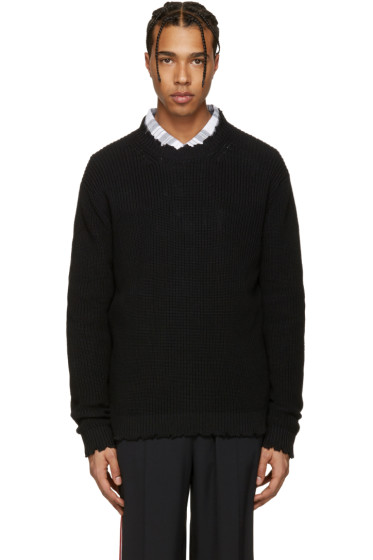 MSGM - Black Destroyed Sweater