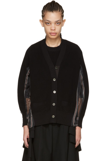 Sacai - Black Organza Striped Cardigan