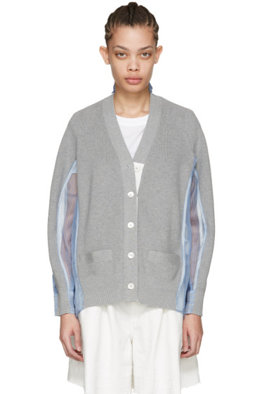 Sacai - Grey Organza Striped Cardigan