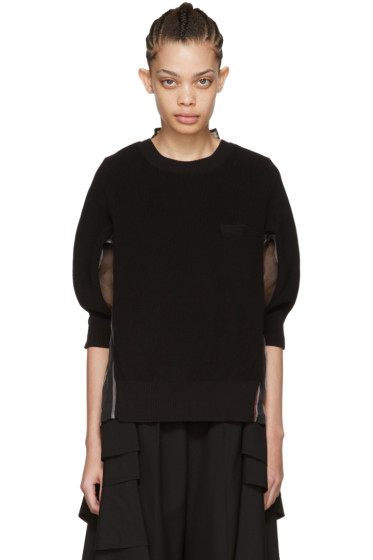 Sacai - Black Organza Striped Pullover