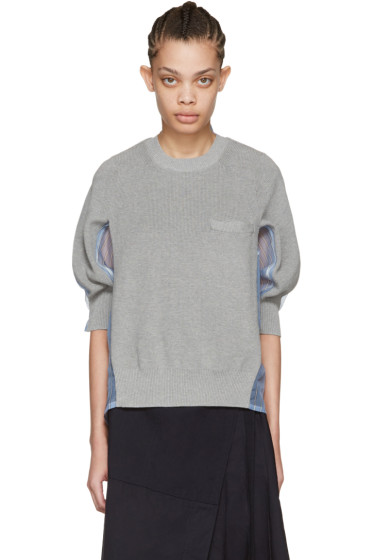 Sacai - Grey Organza Striped Pullover