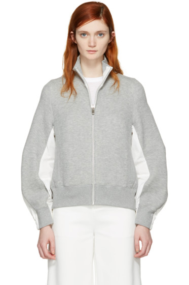 Sacai - Grey Zip-Up Sweater