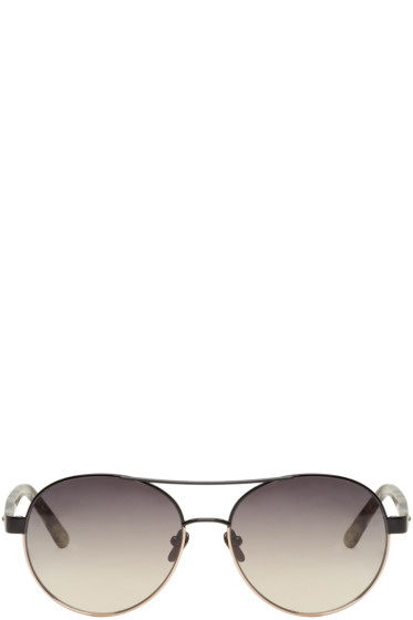 Linda Farrow Luxe - ブラック & ローズ ゴールド アビエイター サングラス