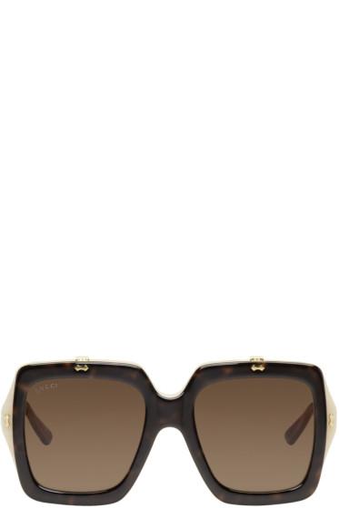 Gucci - Tortoiseshell Large Square Flip-Up Sunglasses