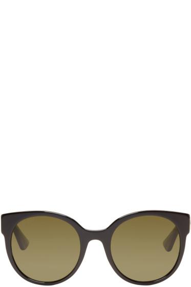 Gucci - Black Round Glitter Sunglasses