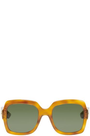 Gucci - Tortoiseshell Large Square Glitter Sunglasses