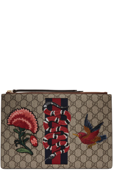 Gucci - Brown GG Supreme Snake & Flower Pouch
