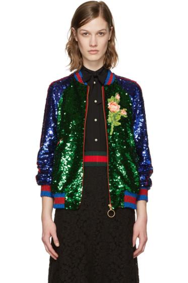 Gucci - Multicolor Sequin Bomber Jacket