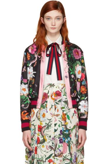 Gucci - Black Flora Snake Bomber Jacket