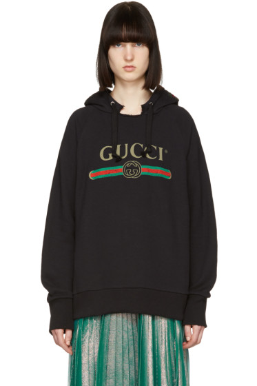 Gucci - Black 'Blind for Love' Tiger Logo Hoodie