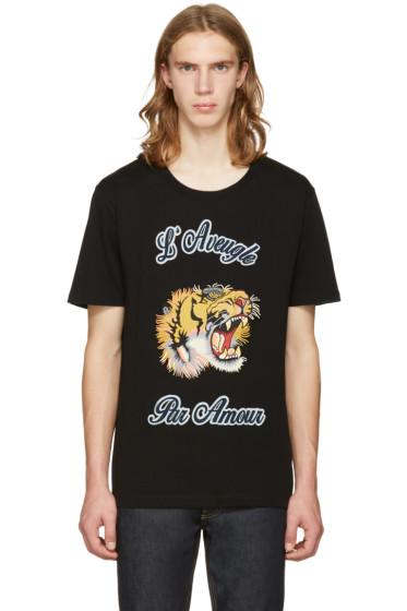 Gucci - Black Tiger Appliqué T-Shirt