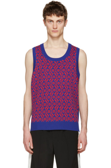 Gucci - Blue & Red Exit 32 Inchiostro Vest
