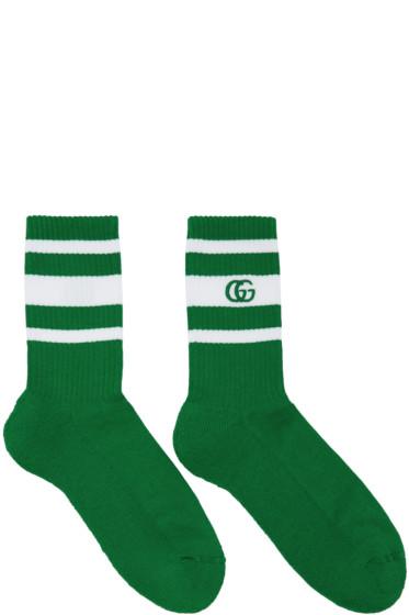 Gucci - Green & White Logo Running Socks