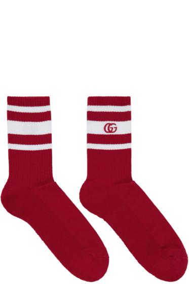 Gucci - Red & White Logo Running Socks
