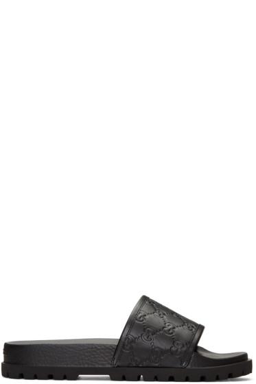 Gucci - ブラック パシュート トレック スライド サンダル