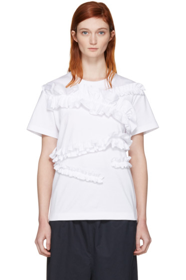Cédric Charlier - White Ruffle T-Shirt