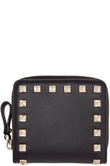 Valentino - Black Small Rockstud Wallet