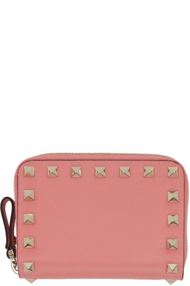 Valentino - Pink Small Rockstud Zip Wallet