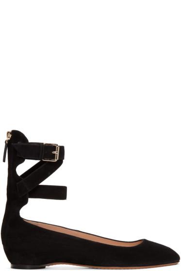 Valentino - Black Suede Ballerina Flats
