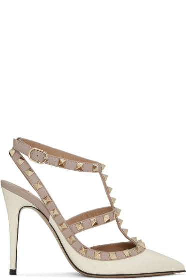 Valentino - Ivory Patent Rockstud Cage Heels