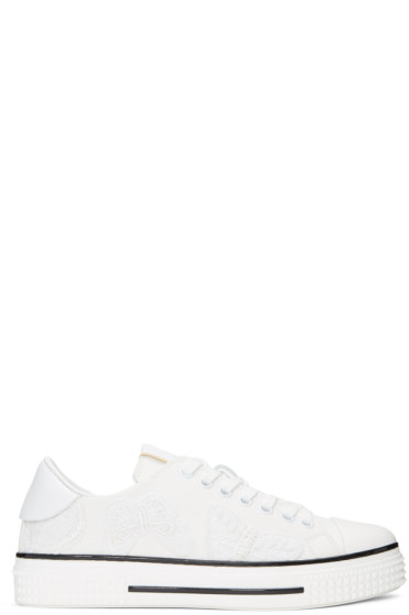 Valentino - White Denim Camubutterfly Sneakers