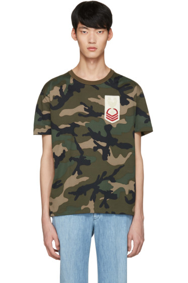 Valentino - Green Embroidered Camo T-Shirt