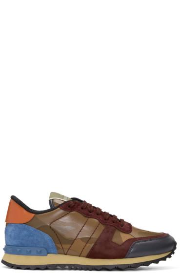 Valentino - Brown Camo Rockrunner Sneakers