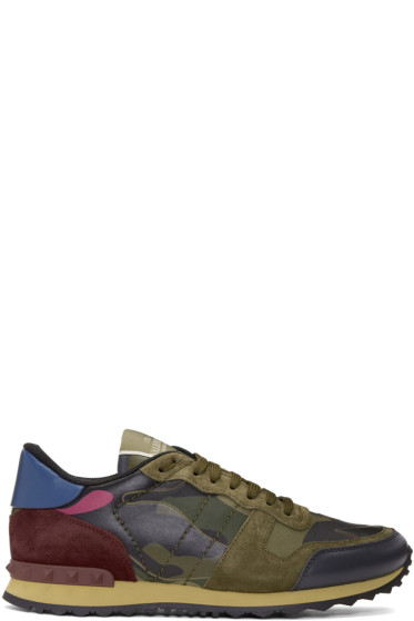 Valentino - Green & Pink Camo Rockrunner Sneakers