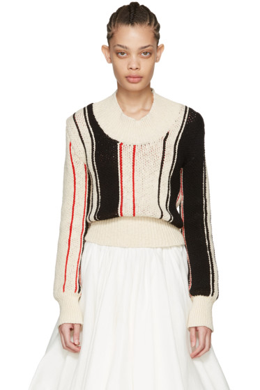 J.W.Anderson - Off-White Striped Scoop Sweater