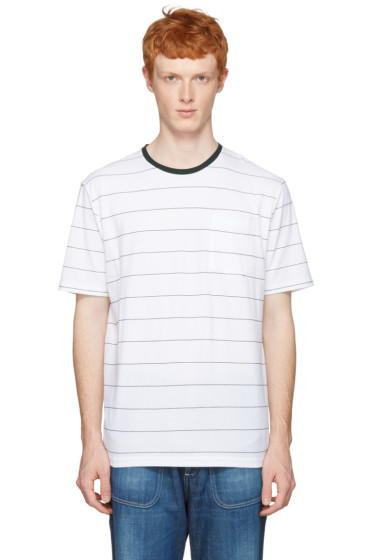 AMI Alexandre Mattiussi - White & Green Striped T-Shirt