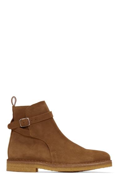 AMI Alexandre Mattiussi - Brown Suede Buckle Boots