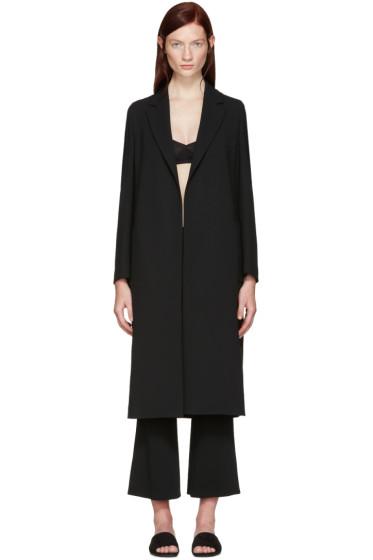 Calvin Klein Collection - Black Crepe Belted Kred Coat