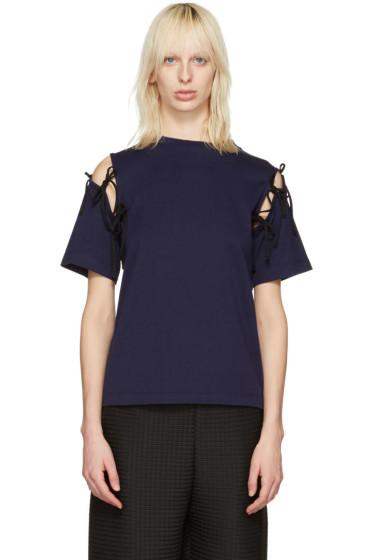 Facetasm - Navy Tie Shoulder T-Shirt