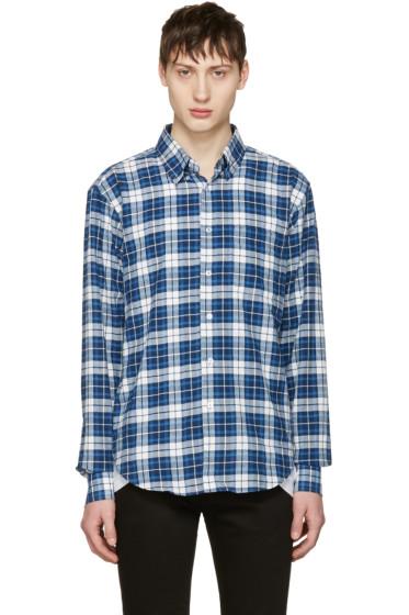 Naked & Famous Denim - White & Blue Dobby Check Shirt