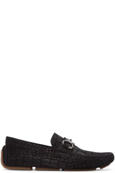 Jimmy Choo - Black Croc-Embossed Brogan Loafers