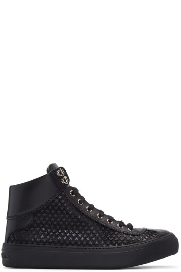 Jimmy Choo - Black Mini Stars Argyle High-Top Sneakers