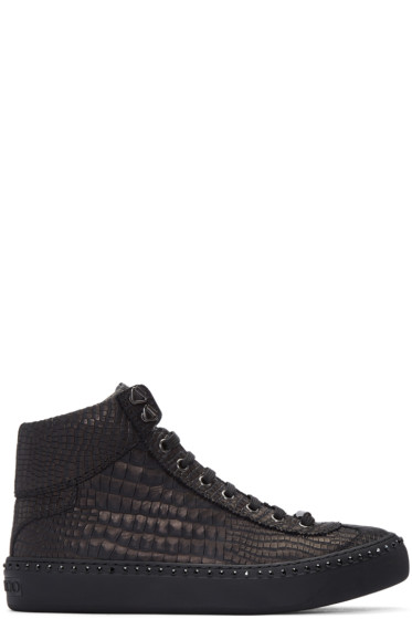 Jimmy Choo - Gunmetal Croc-Embossed Argyle High-Top Sneakers