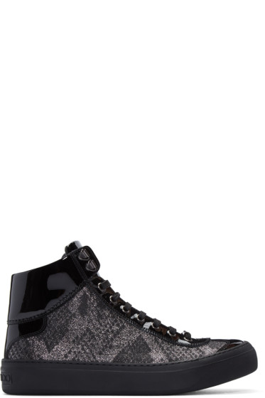 Jimmy Choo - Silver & Black Lamé Argyle High-Top Sneakers