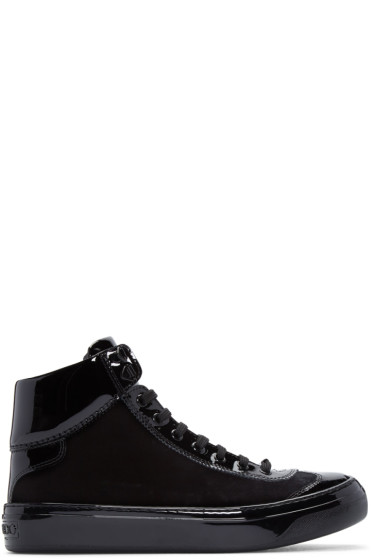 Jimmy Choo - Black Velvet & Leather Argyle High-Top Sneakers