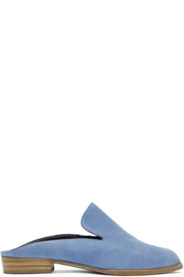 Robert Clergerie - Blue Suede Alicem Slip-On Loafers