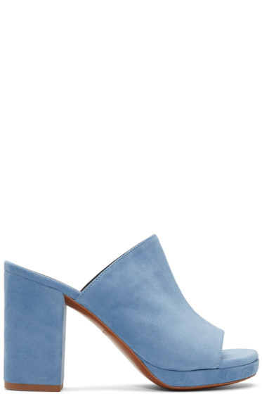 Robert Clergerie - Blue Suede Abrice Mules