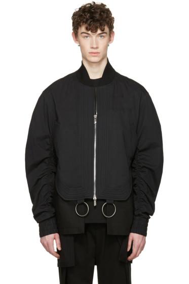 D.Gnak by Kang.D - Black Shirring Sleeves Bomber Jacket