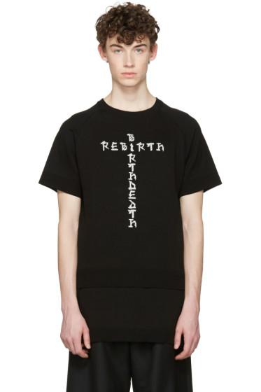 D.Gnak by Kang.D - Black Jacquard Knit Rebirth T-Shirt