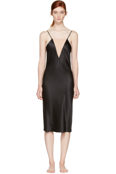 Fleur du Mal - Black Plunge Bias Slip Dress