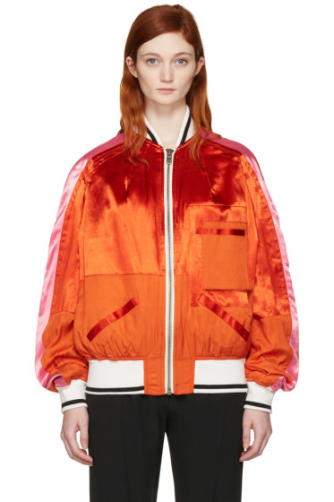 Haider Ackermann - Orange Patchwork Bomber Jacket