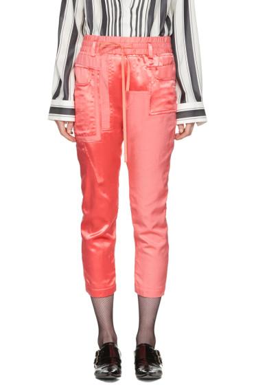 Haider Ackermann - Pantalon de survêtement à patchwork rose